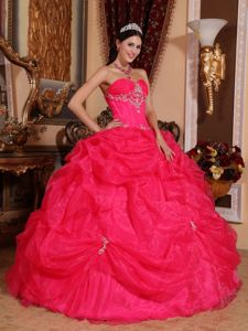Pick Ups Beaded Coral Red Sweetheart Quinceanera Party Dress