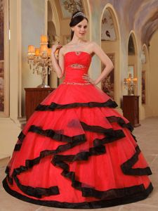 Stylish Red Strapless Beaded Dress for Sweet 16 with Black Hem