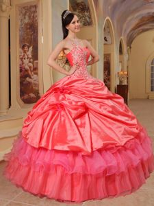 Pick Ups Appliqued Coral Red Quinceanera Dress One Shoulder