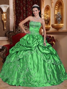 Taffeta Green Pick-ups Sweet Sixteen Dresses with Embroidery