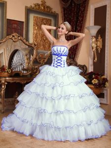 Lovely White Ruffled Layers Dresses for 15 with Blue Appliques