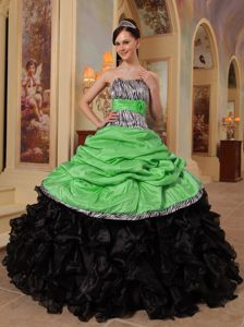 Clearance Zebra Print Spring Green and Black Quinceanera Gown