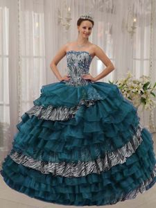 Unique Zebra Print Turquoise Ruffled Layers Quinceanera Dresses for Minor Pageants