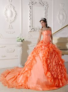 Orange Red Strapless Court Train Ruffled Quinceanera Dress
