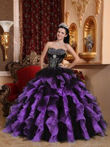 Organza Beaded Ruffled Black and Purple Dress for Sweet 15