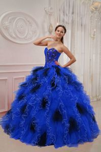 Blue and Black Ball Gown Sweetheart Ruffled Sweet 15 Dress