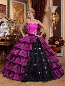 Beautiful Multi-color Ruffled Dress for Quince with Flowers
