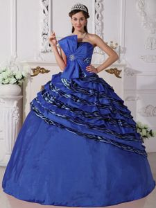 Royal Blue Strapless Zabra Beading Dresses of 15 with a Bowknot Front