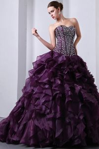 Sweetheart Beading Accent Bodice Ruffled Purple Dresses Quince