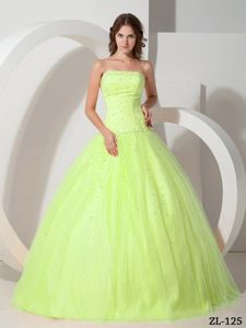 Yellow Green Strapless Tulle Beading Dresses 15 Custom Made