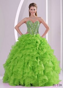 Spring Green Sweetheart Sequins Ruffled Dress for Sweet 15