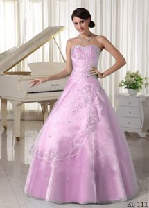 Baby Pink Princess Organza Appliques Beading Quince Gowns