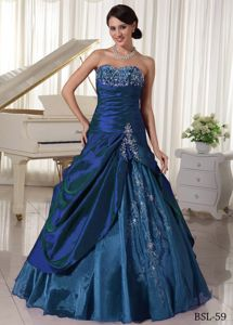 A-line Sweetheart Beading Appliques Ruffled Quinceanera Gown