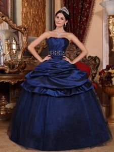 Navy Blue Strapless Ruched Bodice Dress for Sweet 15 with Belt