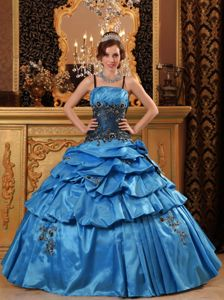 Blue Spaghetti Appliques Pick-ups Pleated Dress for Quinceanera
