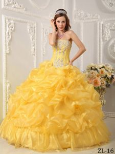 Attractive Gold Beading Pick-ups Organza Quince Gown