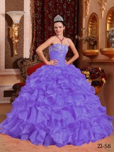 Light Purple Strapless Ruched Bodice Ruffled Dress for Quince