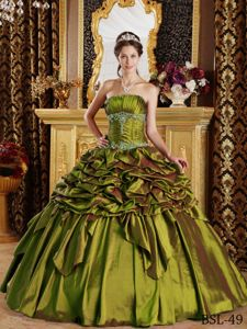 Olive Green Ruffled Appliques Pick-ups Taffeta Quince Gown