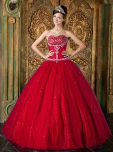 Red Sweetheart Pleated Beading Appliques Dress for Quinceanera