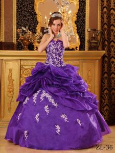Purple Sweetheart Pick-ups Appliqued Ball Gown Dress 15