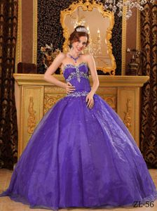 Purple Ball Gown Sweetheart Beading Appliqued Quince Dresses