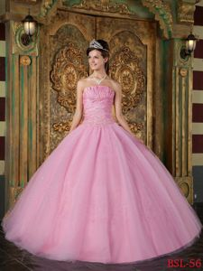 Rose Pink Strapless Appliques Ruched Bodice Sweet 16 Dresses