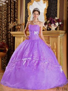 Lavender Ball Gown Bowknot Beading Appliqued Dress Quince