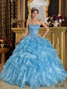 Chic Ice Blue Ruffles Appliques Bodice Sweet Sixteen Dresses