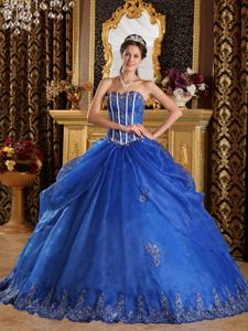 Royal Blue Sweetheart Pick-ups Appliqued Quinceanera Dress