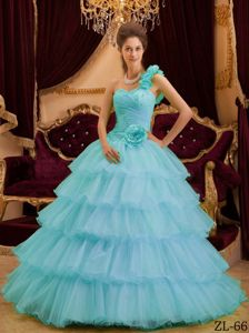 Mint Colored One Shoulder Multi-tiered Ruffled Dress for Quince