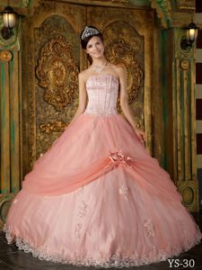 Unique Lace Hem Hand Made Flowers Ball Gown Quince Dress