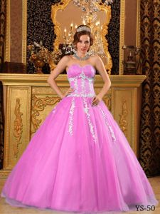 Pink Beading Appliqued Tulle Strapless Quince Dresses Designer