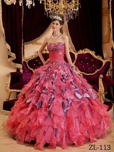 Unique Colorful Ruffled Beading Leopard Quince Dresses
