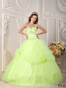 Yellow Green Tired Quince Party Dress with Hand Made Flowers