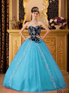 Beading Appliqued Aqua Blue and Black Dress for Quinceanera