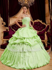 Apple Green Multi-tiered Pleated Pick-ups Quince Party Dress