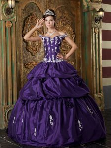 Eggplant Purple off the Shoulder Appliqued Tiered Dress Quince
