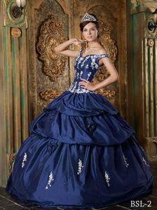 Navy Blue off Shoulders Multi-tiered Dress Quince with 3D Flowers