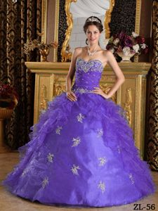 Lavender Beading Appliqued Bodice Ruffled Quince Party Dress