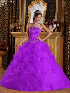 Beading Appliqued Pick-ups Light Purple Sweet Sixteen Dresses