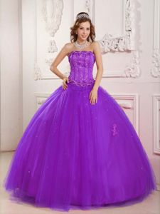 Purple Tulle Ball Gown Beading Strapless Quince Dresses