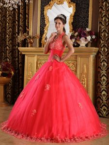 Coral Red Halter Appliques Ruched Bodice Dress for Quince