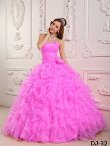 Romantic Baby Pink Ruffled Beading Sweetheart Quinceanera Gown