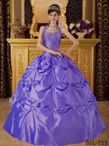 Purple Appliques Halter Top Pick-ups Quinceanera Gown