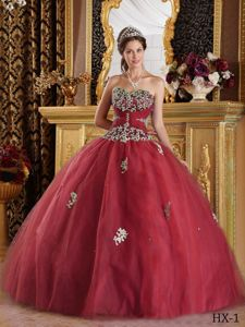 Wine Red Ball Gown Appliques Beaded Sweetheart Quince Dress