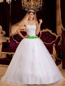 Strapless White Quince Dresses with Green Ribbon and Appliques