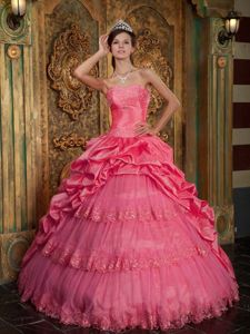 Watermelon Red Ball Gown Pick-ups Sweet 16 Dresses with Tiers
