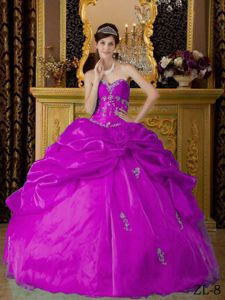 Fuchsia Sweetheart Pick-ups Appliques Dresses for a Quince