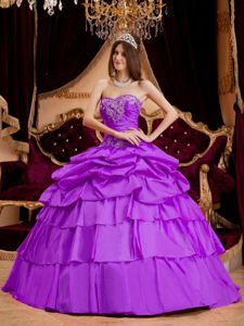 Purple Taffeta Pick-ups Multi-tiered Quinceanera Party Dress