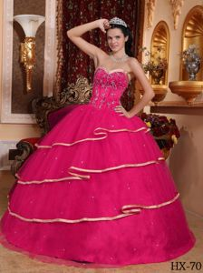 Hot Pink Sweetheart Tiered Beading Appliqued Dresses for Quince